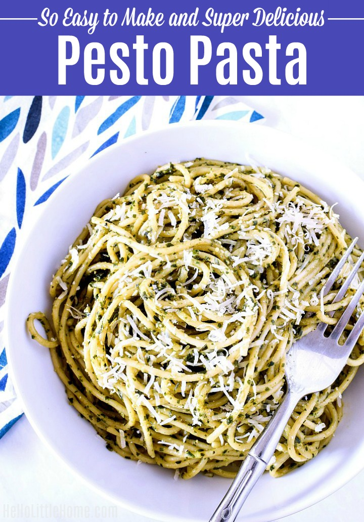 Pesto Pasta in a white bowl with a fork on top.