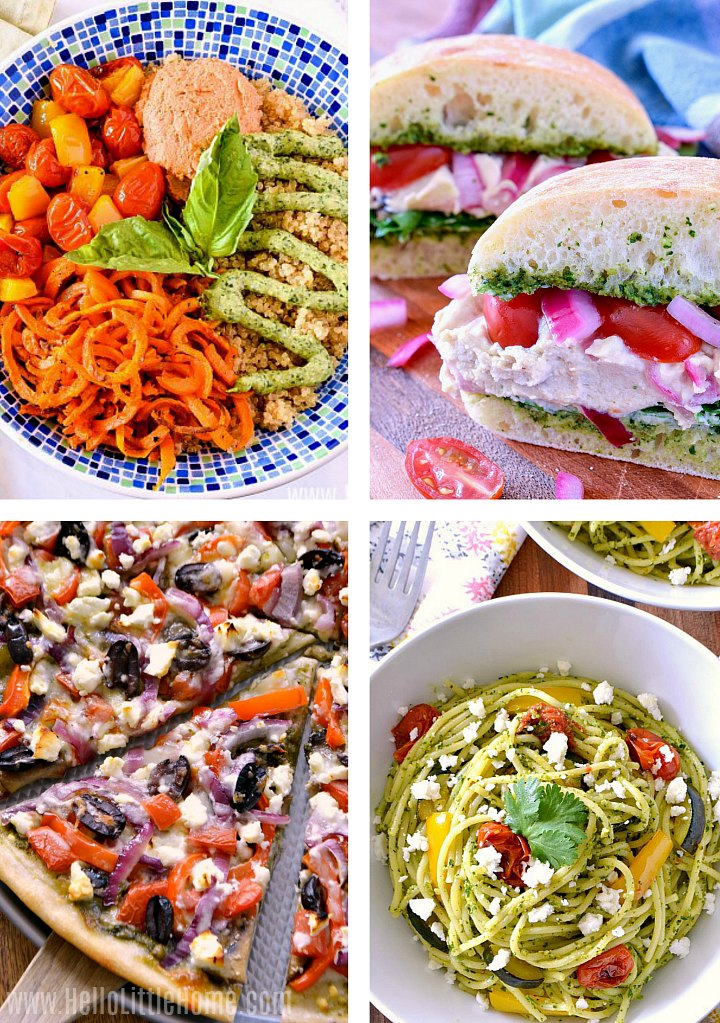 Collage of recipes using pesto: pasta, bowls, sandwiches, pizza.