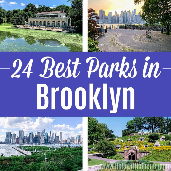 A photo collage showing four of the best parks in Brooklyn.