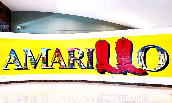 A huge Amarillo sign at the Rick Husband Amarillo International Airport.