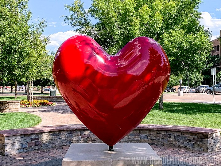 A giant red heart in downtown Amarillo.