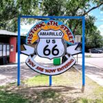 The historic Route 66 sign in Amarillo, Texas.