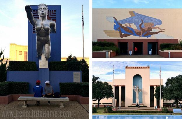 Art Decor buildings and sculptures in Fair Park in Dallas.