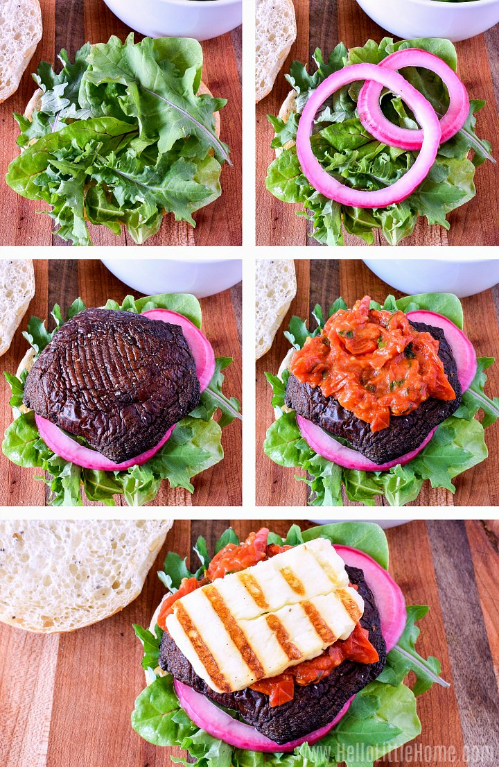 Photo collage showing how to assemble Halloumi Cheese Burgers.