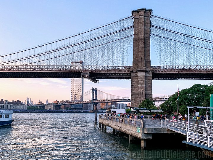The Brooklyn Bridge Park with views of the Brooklyn and Manhattan Bridges.