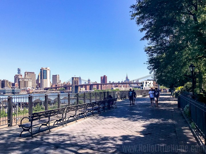 People walking on the Brooklyn Heights Promenade, one of the best parks in Brooklyn.