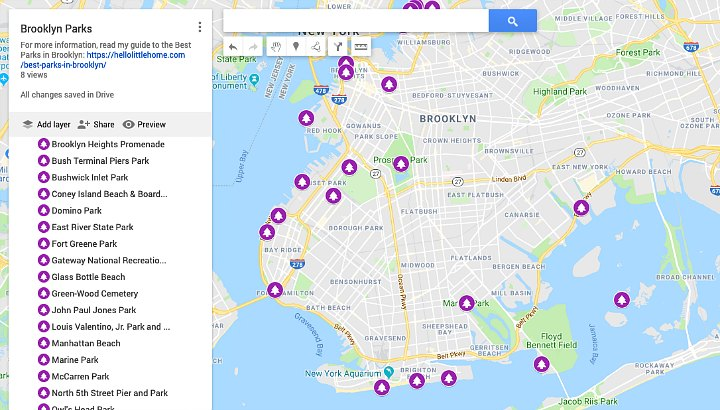 A google map of the Best Brooklyn Parks.