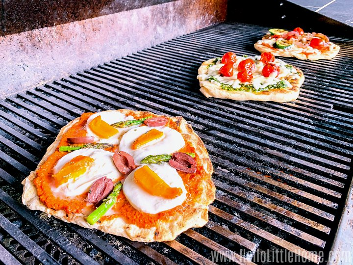 Cooking pizza on the grill.