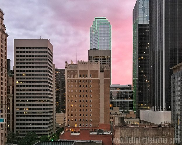 A sunset in downtown Dallas.