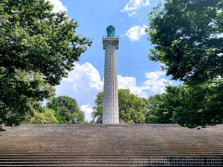 Steps leading to the Prison Ship Martyrs Monument in Fort Greene Park, Brooklyn.