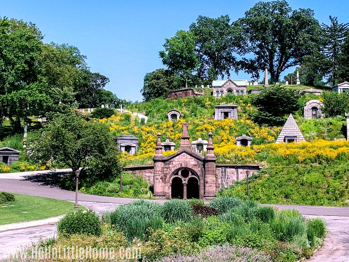 A hillside with family tombs in Green-Wood Cemetery in Brooklyn.