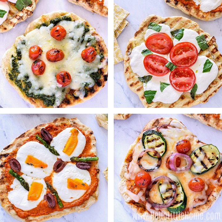 A collage of pizzas with different grilled pizza toppings.
