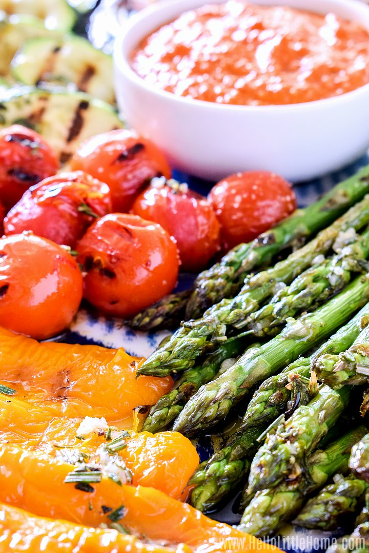 Grilled vegetables served with romesco sauce.