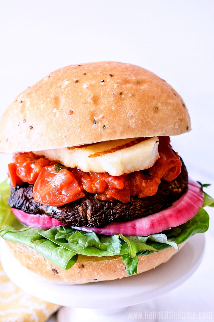 A Halloumi Burger on a white tray.
