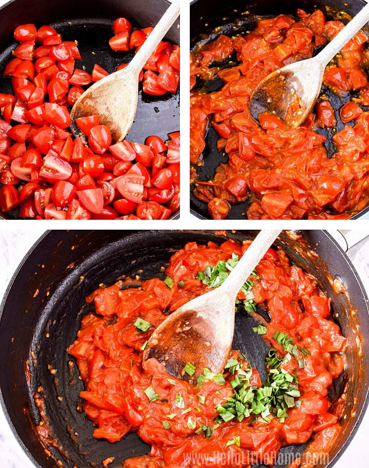 A photo collage showing how to make halloumi burger sauce.