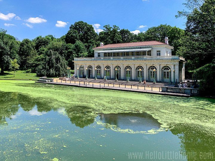 The Prospect Park Boathouse sits overlooking the Lullwater waterway.