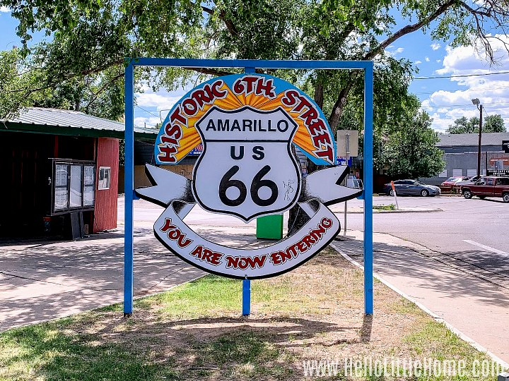 The historic Route 66 sign in Amarillo, TX.
