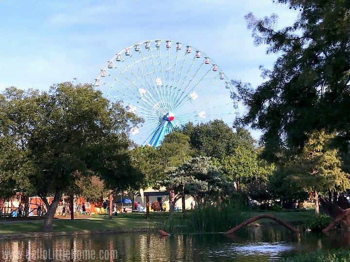 The Texas Star Ferris Wheel seen across the lake at Fair Park.