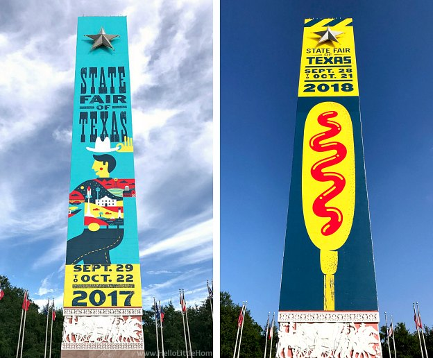 Texas State Fair entrance signs from 2017 and 2018.