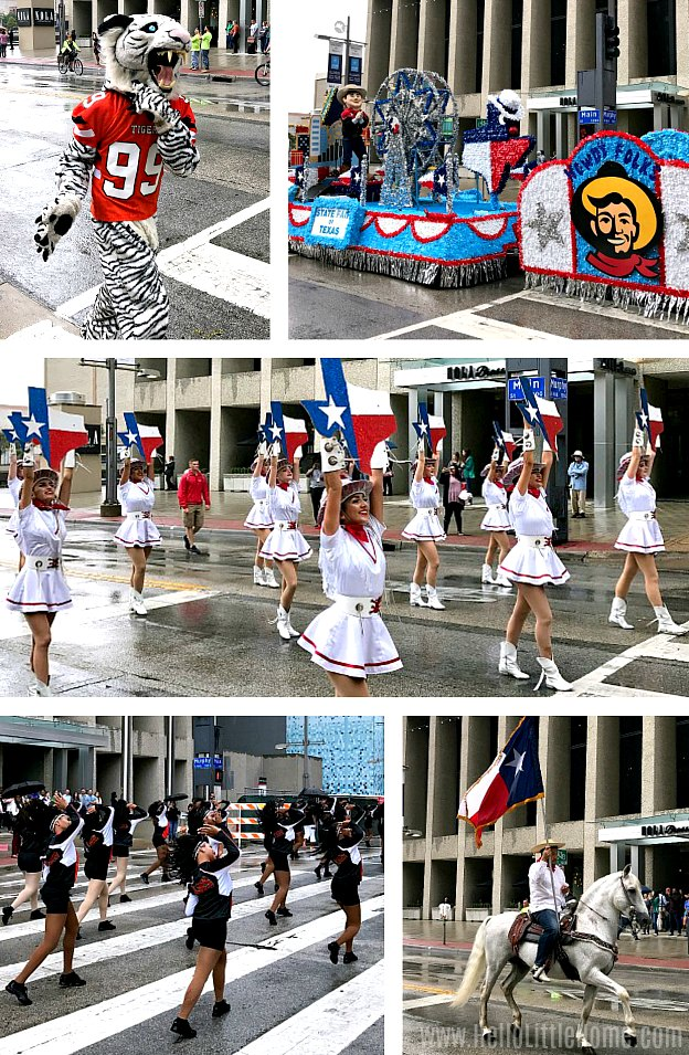 A collage of photos from the Texas State Fair opening day parade in downtown Dallas.
