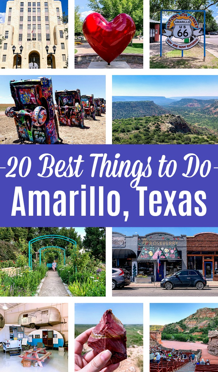 A collage of photos showing the best things to do in Amarillo, Texas.