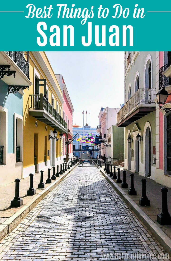A cobblestone street lined with colorful buildings in Old San Juan.
