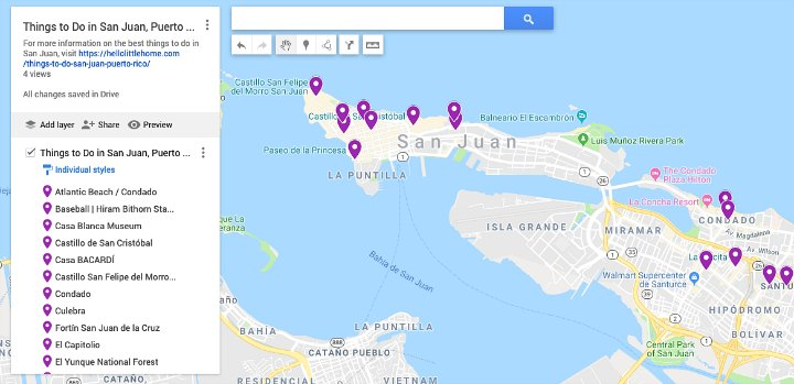 A map marked with different things to do in San Juan, Puerto Rico.