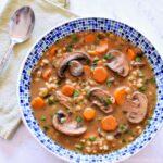 A bowl of Mushroom Barley Soup