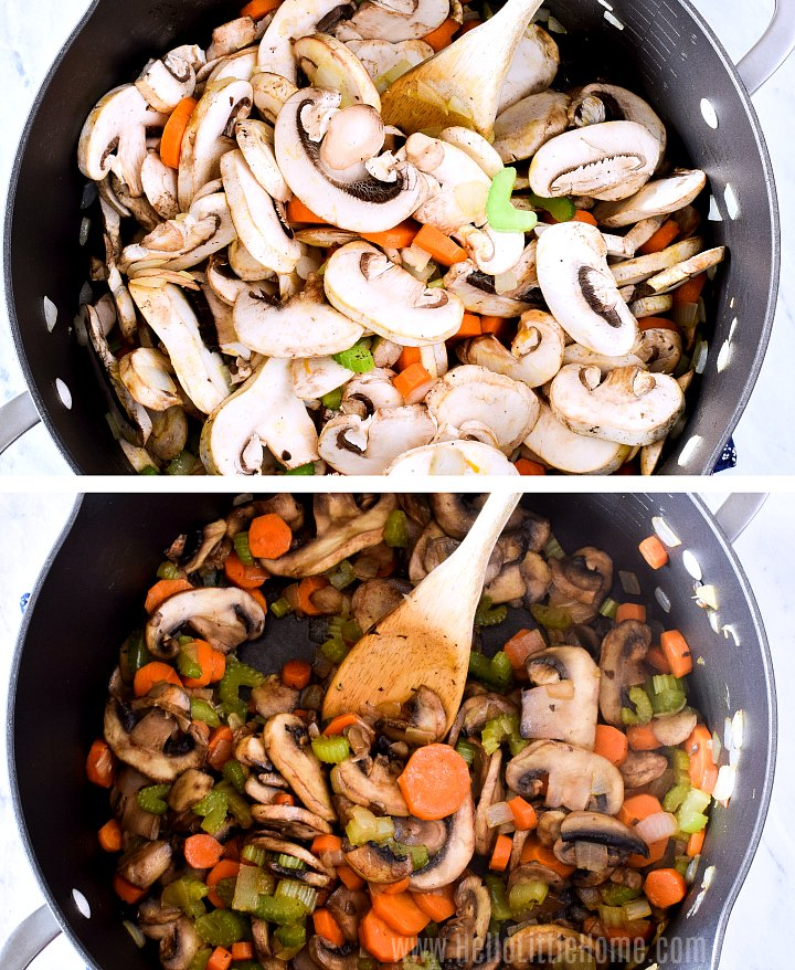 Two photo collage showing how to saute mushrooms for barley soup.