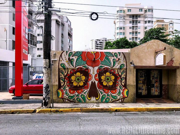 A building with a colorful mural in Santurce.
