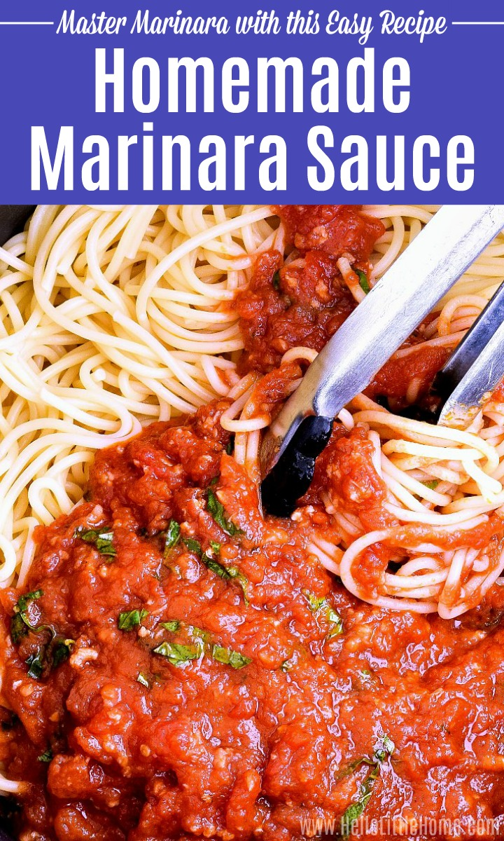Mixing a Marinara Sauce recipe with pasta using tongs.
