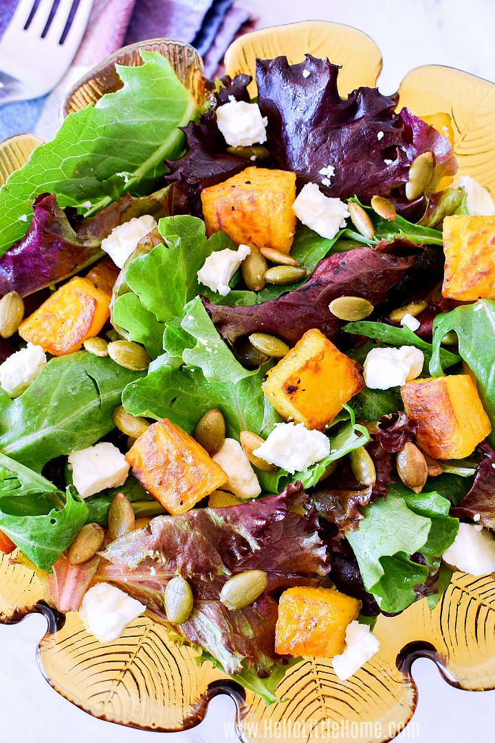 Closeup of a Roast Pumpkin Salad topped with Feta.