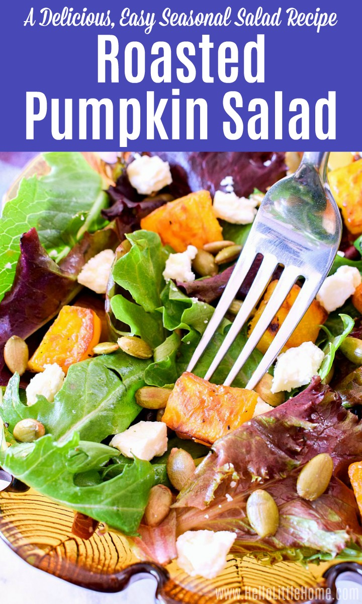 A fork spearing a bite of Roasted Pumpkin Salad.