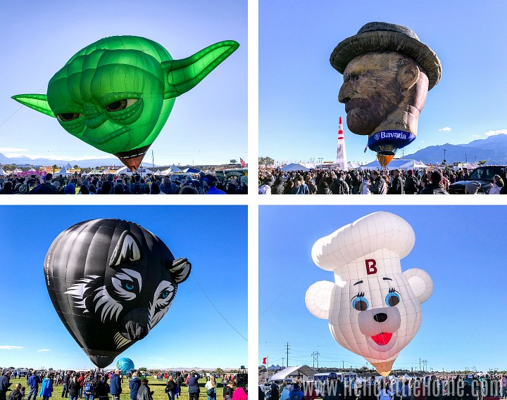 A collage of special shape balloons at the Albuquerque International Balloon Fiesta.