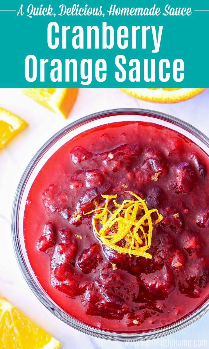 Cranberry Orange Sauce in a glass bowl, topped with zest.