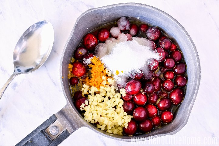 Cranberry sauce ingredients, including orange juice and zest and sugar in a saucepan.
