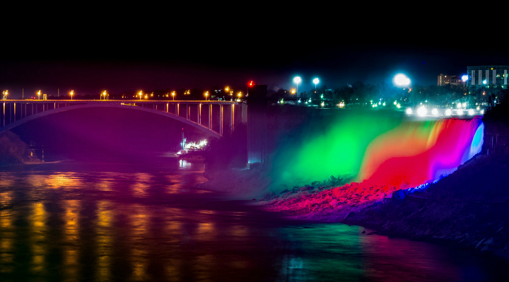 Colorful Lights on falls at night.