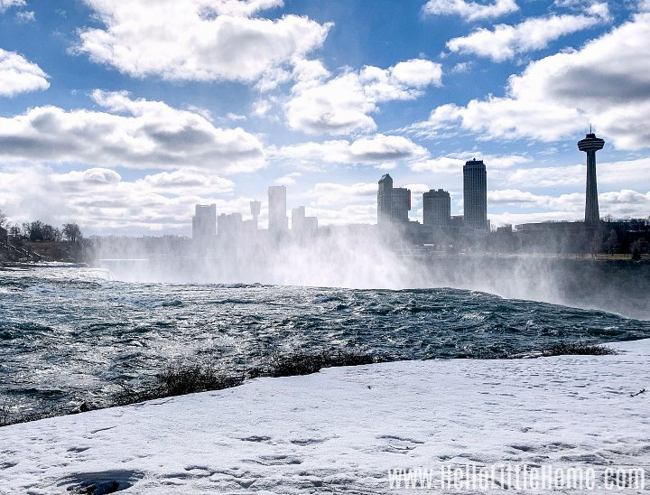Looking over the edge of the American Falls toward Canada.