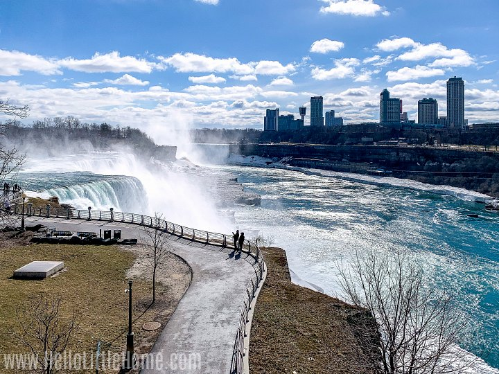 People walking on a path in Niagara Falls State Park on the U.S. side.