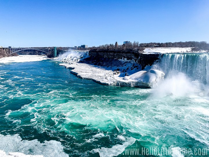 A view of the falls from the Canadian side with Rainbow Bridge in the distance.