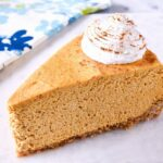 A slice of No Bake Pumpkin Cheesecake.