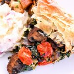 Roasted Vegetable Pie served with mashed potatoes.