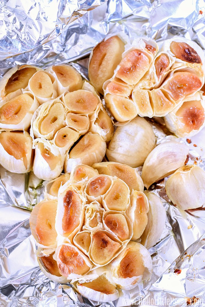 Roasted Garlic cloves and heads in foil.