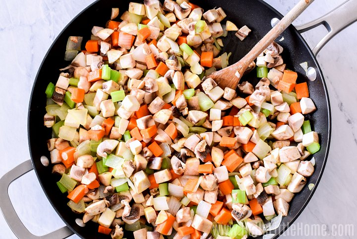 Sauteing vegetables and mushrooms for Shepherd's Pie.