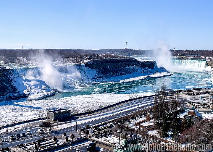 An aerial view of the falls from the Crowne Plaza Hotel in Canada.