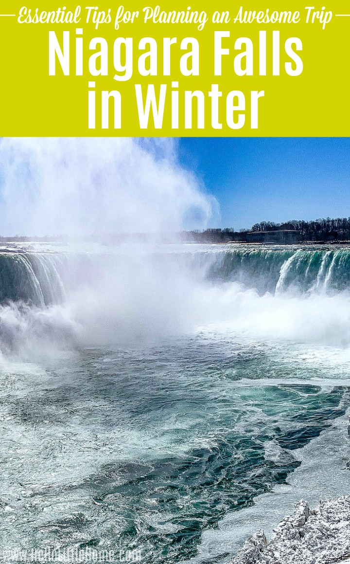 Horseshoe Falls surrounded by ice during winter in Niagara Falls.