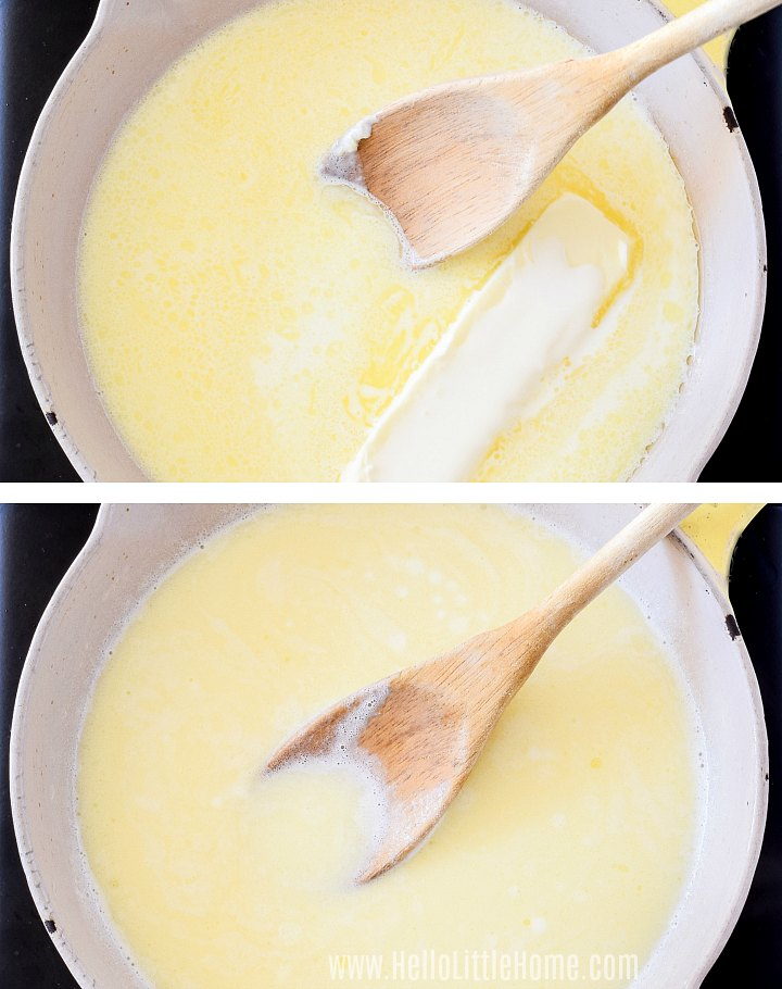 Mixing butter and heavy cream in a skillet.