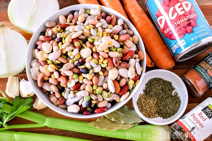 15 Bean Soup ingredients: bean mix, veggies, tomatoes, and spices.