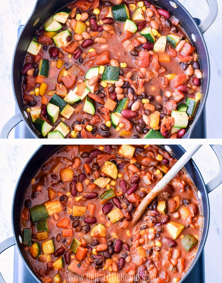 Two photos, one showing meatless chili cooking and the other showing the finished chili.