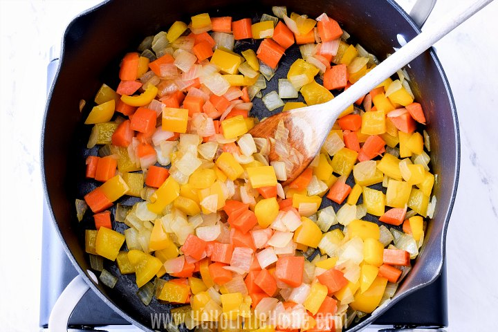 Sauteing veggies for chili in a large dutch oven.
